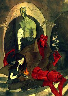 Abe Sapien, Hellboy, and Liz Sherman by Abigail Larson on Mike Mignola, Darkhorse Comics, Otto Schmidt, Image Comics, Art Pop, Fantasy Character, Character Design, Cthulhu, Hellboy Liz