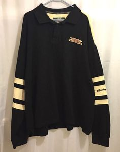 be6ae82c1e0 Men s Harley Davidson Polo Sweater Size 3XL Embroidered Pullover Black  Cream  HARLEYDAVIDSON  Polo Harley