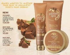If you love the smell of Chocolate relaxa and unwind with the rich, creamy chocolate scent of Planet spa. Leaves your skin velvety smooth