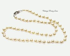 Vintage EVCO Glass Pearl Bead Necklace by VintagePennyLane on Etsy