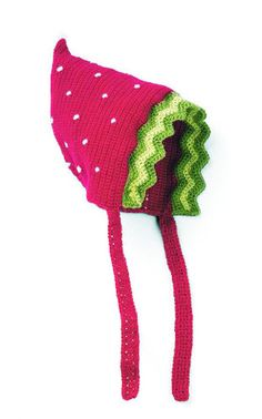 Miss Strawberry Red Bonnet Baby Hat, I really need to learn to knit Crochet Beanie, Knitted Hats, Crochet For Kids, Crochet Baby, Baby Sun Hat, Bonnet Hat, Baby Bonnets, Fancy Hats, Cute Outfits For Kids