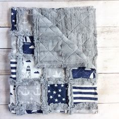 Nautical Crib Quilt - Nautical Nursery Bedding - Nautical Blanket - Baby Boy Quilt - Anchor Baby Blanket - Nautical Baby Gift - Star Blanket by TheCuddlyQuilt on Etsy https://www.etsy.com/listing/386434902/nautical-crib-quilt-nautical-nursery