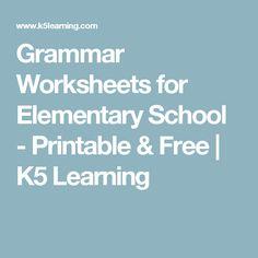 Free grammar worksheets for elementary school