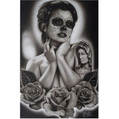 Serenity by Big Ceeze Sexy Tattooed Woman Canvas Art Giclee Print