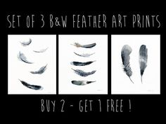 Super cool set of 3 modern painted feather art by TheClayPlay
