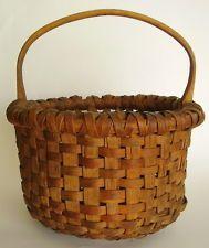 Antique PA Primitive Early 1800 Splint Gathering Basket Carved Handle ....