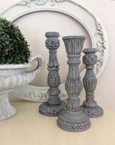 French Country Candleholders, Cottage Chic, Gray Candlestick Holder, Centerpiece, Wedding Gift, Set of 3
