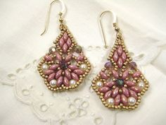 Beadwoven Dangle Earrings Crystals Seed by SleepingCatDesigns