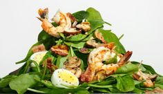 shrimp and spinach salad with bacon dressing Bacon Spinach Salad, Bacon Dressing, Salad Recipes, Healthy Recipes, Recipe Finder, How To Eat Better, Breakfast Snacks, Vegetable Salad, Fruits And Veggies