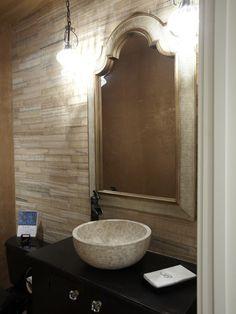 """poweder room-DARK furniture + DARK faucet and white vessel"""