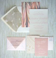 Gray Dusty Pink wedding invitations