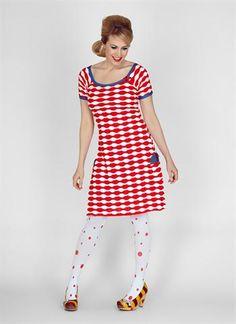 Køb Margot kjole Lovely Rose 00600 - i rød hvid - Fri fragt