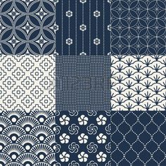 Illustration about Seamless traditional japanese geometric pattern set. Illustration of asian, elements, japanese - 51519067 Japanese Textiles, Japanese Fabric, Japanese Prints, Japanese Design, Japanese Art, Motifs Textiles, Textile Patterns, Print Patterns, Floral Patterns