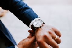Groom style // A Tag Heuer Grand Carrera Calibre 6 watch, with a white dial face and leather strap. Classic and elegant. Image by Sally Rawlins Photography. Tag Heuer, Carrera, Cali, Groom Style, Wedding Groom, Wedding Styles, Watches, Elegant, Classic