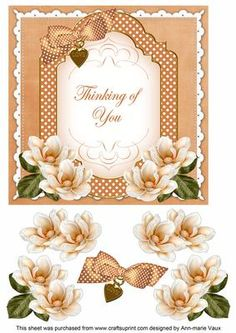 BOrange Magnolia Thinking of You Fancy 7in Decoupage Topper on Craftsuprint - Add To Basket!