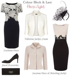 Phase Eight Dress and Matching Jacket modern Mother of the Bride styles and wedding guest outfits. Colourblock fashion, black with nude, black and cream two piece occasionwear