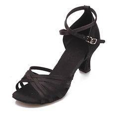 a9ef1529ca8 Non Přizpůsobitelné - Dámské - Taneční boty - Latina - Satén - Masivní  podpatek - Černá