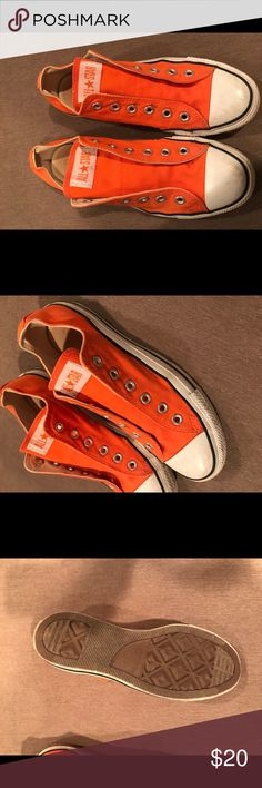 Women's Orange Converse Used many times but good condition. Laces not included. Converse Shoes Sneakers