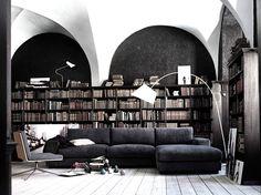 Black and books. Lamp too.