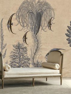 love the simplicity of the chaise against the active wallpaper