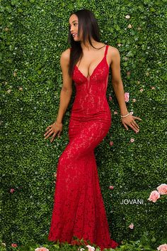 Red Fitted Lace Prom Dress by Jovani