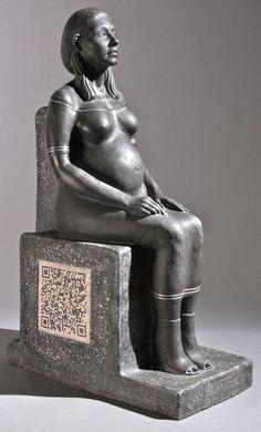 Billie Bonds ceramic sculpture with a QR Code