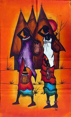 African Artwork, African Art Paintings, African American Artist, African Artists, Black Art Painting, Fabric Painting, African Theme, Tribal African, Contemporary African Art