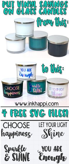 Free SVG files! How to put Vinyl sayings on glass candles using Cricut.
