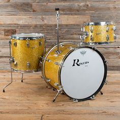 Rogers Holiday 12/14/20 3pc Drum Kit Gold Sparkle Cleveland Era Early 60s