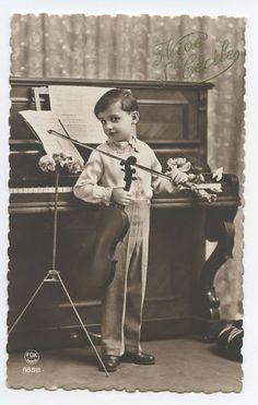 Deco Child Boy Piano Music Violin Fantasy original vintage 1920s photo postcard