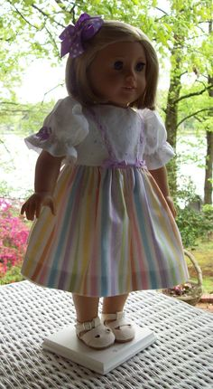 Doll Dress and hair clip fits 18 inch doll or American Girl Doll.  Pastel stripe with confetti dots.
