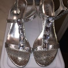 "✨HP 3/2/16 ✨ Guess Silver Wedge Beautiful silver Guess ""Jewels"" wedge.  Excellent condition! Guess Shoes Wedges"