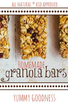 All natural, kid approved, homemade granola bar recipe! Crunchy, salty, and sweet!