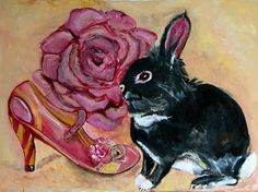 Keen on Boys Limited Edition Archival Print of by KimAnnabella, €10.00 Art Print Digital Alternative Marie Antoinette Rococo Baroque Pink Rabbit Princess Queen Art Painting Original Painting Pastel Goth Irregular choice,shoe, rose, pink rose,pink, rabbit,bunny,black rabbit,alternative,pastel goth, hipster, Paint, canvas, acrylic paint, oil paint, archival paper ,print,cello, mount,