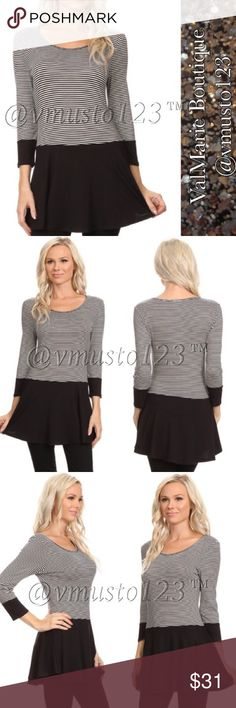 """COMING SOON - Striped Tunic Top MADE IN USA - PREMIUM COLLECTION  GORGEOUS TOP!!! SUPER SOFT Stripe, waist length 3/4 sleeve top in a relaxed style with a scoop neck and pleated detailing  CASUAL SLIGHTLY FLOWY FIT, LOOKS SO GOOD ON!  *Model wearing size S- 32Bx25Wx35H and height is 5' 9""""  95% RAYON, 5% SPANDEX  S(2-4) M(6-8) L(10-12) XL (14-16)  ‼️PRICE IS ABSOLUTE FIRM‼️ PLEASE KEEP IN MIND MADE IN USA CLOTHING COSTS AND POSH FEES.   ESTIMATED ARRIVAL: 1/15 ValMarie Boutique Tops"""