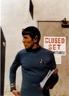 Leonard Nimoy as Spock. I love behind-the-scenes shots.