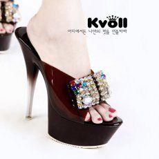 T24294 Kvoll Bowknot Rhinestone Platform Slipper Brown [T24294] - $27.50 : China,Korean,Japan Fashion clothing wholesale and Dropship online-Be the most beautiful Lady