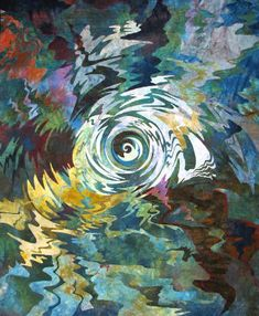 Reflections, Burano, Italy, var. 2    Art quilt by Barbara Schneider