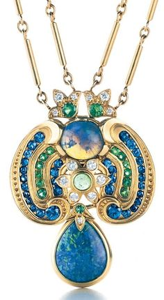 An Indian inspired black opal, diamond, emerald and sapphire necklace, by Louis Comfort Tiffany. Circa 1915-20   JV