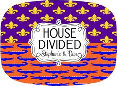 House Divided Tailgate Tray Personalized Melamine Platter by GamedayGirlDesigns, $30.00 #FloridaGators #LSUTigers
