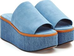 Robert Clergerie Shoes - A pale blue color and a tactile clash of cool denim and supple suede inform these tall wedge sandals from Robert Clergerie. The open toe allows for a statement pedicure. - #robertclergerieshoes #blueshoes