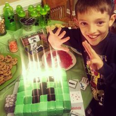 Explosives (sparkler candles) to make the creeper look like he was going to blow up!
