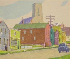 Ora Coltman (American 1858-1940)- ''Main Street''- woodblock in colors, signed and titled in pencil, slightly light struck and staining in margins, 2 holes in image. 7 5/8 x 9''