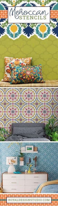 Decorate your room makeover with exotic and global chic Moroccan Stencils that can be painted on walls, furniture, and more! DIY decor made easy and custom using Royal Design Studio Stencils Moroccan Pattern, Moroccan Design, Moroccan Decor, Moroccan Wall Stencils, Stencil Wall Art, Repurposed Furniture, Custom Furniture, Painted Furniture, Moroccan Style Bedroom