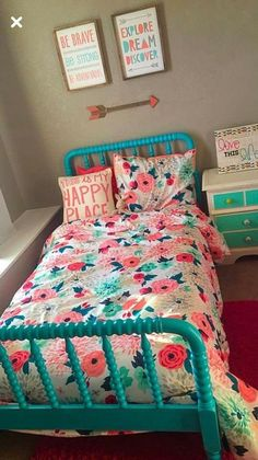 Redoing my 3 year olds room ❤ Cute Rooms For Girls, Little Girl Rooms, Colorful Girls Room, Kids Bedroom Ideas For Girls, Preteen Girls Rooms, Cool Kids Bedrooms, Big Girl Bedrooms, Girls Bedroom, Bedroom Decor