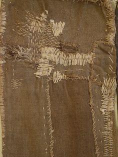 "A Trio of Very Boro Sakabukuro or Sake ""Filters"" Embroidery Art, Embroidery Stitches, Boro Stitching, Visible Mending, Make Do And Mend, Textile Fiber Art, Japanese Textiles, Kintsugi, Sewing Art"