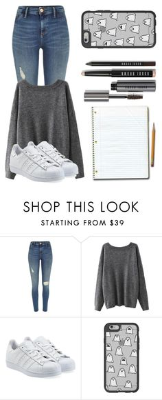 """""""School Outif"""" by briquel1328 ❤ liked on Polyvore featuring River Island, adidas Originals, Casetify and Bobbi Brown Cosmetics"""