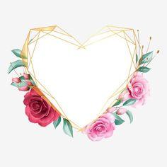 Floral Rosa, Arte Floral, Frame Flores, Gold Wallpaper Background, Doodle Frames, Blue Nose Friends, Simple Elegant Wedding, Valentines Art, Frame Clipart