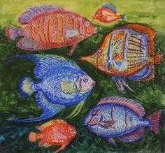 Ferdinand Finne (1910 – 1999): Mange sorters fisk, 1987 Dahl, Ferdinand, Painters