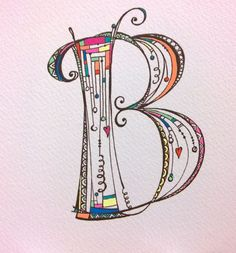 cool Zenspirations monogram 'B' was hand-colored by Joanne Fink with Sakura's new Moonlight gelly roll fine pens. Doodle Fonts, Doodle Lettering, Creative Lettering, Typography, Lettering Styles, Brush Lettering, Doodle Drawings, Doodle Art, Tangle Doodle